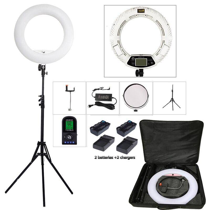 Yidoblo FE-480II Duas cores Ajustar Anel de Iluminação Fotografia Luz 480 LED luz de Vídeo Lâmpada Maquiagem selfie + 2 M suporte + bag + bateria