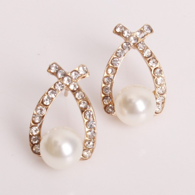 Elegant Cute Pearl Stud Earrings