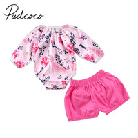 2017 Brand New Newborn Toddler Infant Baby Girls Floral Long Sleeve Top Shorts Pants Outfits 2Pcs Sets Fresh Clothes 0-24M