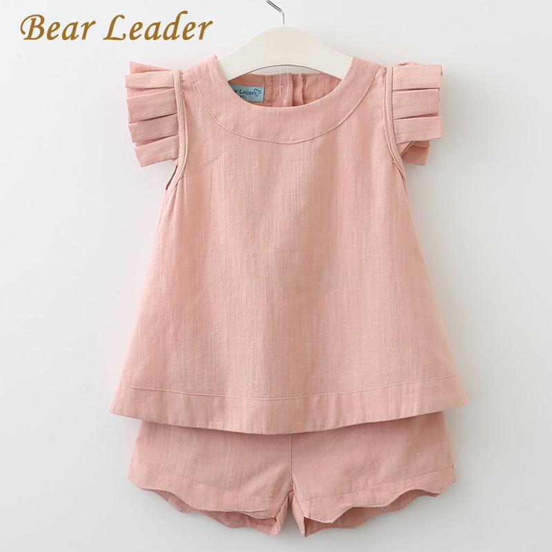 Bear Leader Girls Clothing Sets 2017 Summer Fashion Sleeveless Solid O-Neck T-shirts+Pants 2Pcs for Girls Suits Kids Clothes letter print o neck collar short sleeve t shirts rose white shorts girl sets 2017 summer small kids new fashion for girls sets