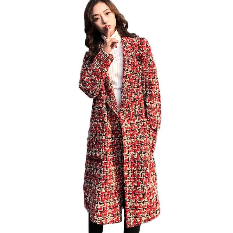 Herbst Winter Mantel 2019 Woolen Mantel Frauen Lange Plaid Mischung Mantel Dicke Wolle Kaschmir Mantel Tweed Jacke Rot Outwear 768-in Wolle & Mischungen aus Damenbekleidung bei  Gruppe 1