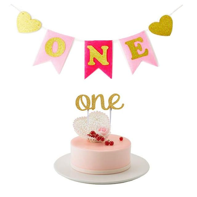 Online Shop Gold Glitter Baby Boy Girl First Birthday Blue Pink