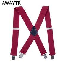 AWAYTR Mens Wide 5cm Elastic Suspenders European Style Lengthen Adjustable Solid Casual Braces for Men New Plus Size Tirantes