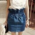 Modelos de verano pantalones Vaqueros Ocasionales Hermosos Con el Bolsillo del Brote de La Cintura Mini Faldas Midi Mujeres Denim Falda de Verano