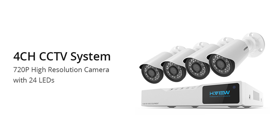 H.View 4CH CCTV System 720P HDMI AHD CCTV DVR 4PCS 1.0 MP IR Outdoor Security Camera 1200 TVL Camera Surveillance Kit (1)