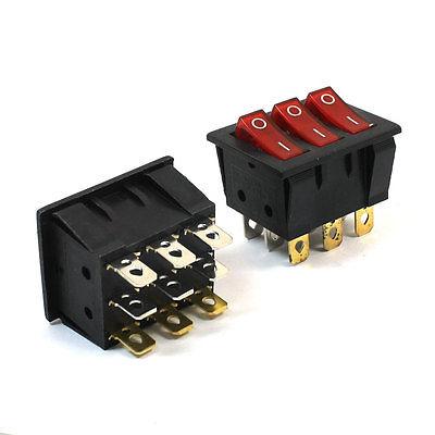 цена на 15A 250VAC 20A 125VAC 3 Way Red Pilot Lamp Three SPST Rocker Switch