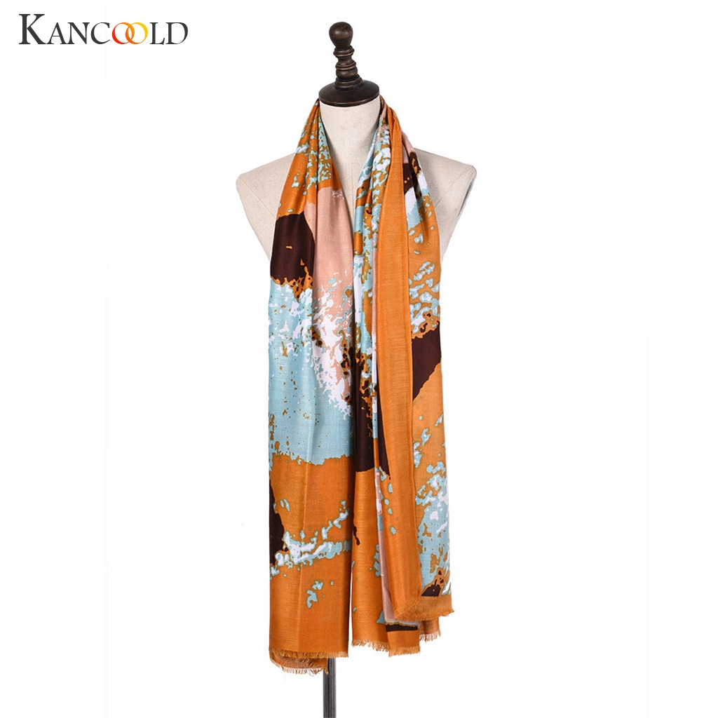 KANCOOLD   Scarf   women Lady Soft Winter Warm Neck Shawl   Scarf     Wrap   Stole Colorful Pashmina Fashion Print   Scarf   Women 2018Nov21