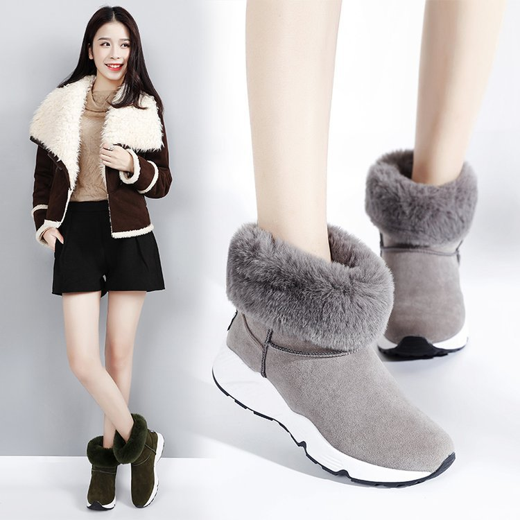 winter Female Plus Velvet Snow Shoes Platform Boots Women Thermal Cotton-padded Shoes Flat Ankle Boots