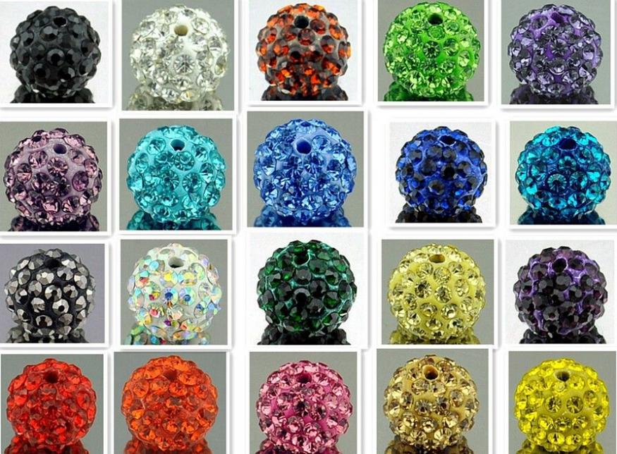 Beads 50pcs Dia 10mm 32 Colors Shamballa Beads Crystal Disco Ball Beads Shambhala Spacer Beads Shamballa Bracelet Crystal Clay Beads Discounts Sale