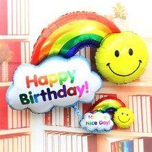 1 pcs tamanho grande Rainbow sorriso foil balão dos desenhos animados de aniversário festa de casamento decoração de balões de ar infláveis brinquedos Clássicos