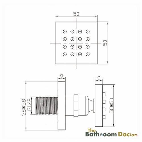 Pomme de douche en laiton massif chromé | Salle de bains, carré bec de 1/2