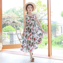 Girls Bohemian Beach Holidays Floral Long Dress 2018 Summer New Children's Clothing Girl Ankle-length Dresses 110-160