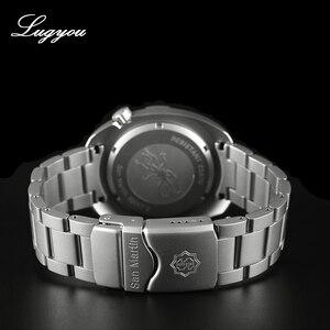 Image 4 - Lugyou San Martin Diver Uomini Orologio Meccanico in Acciaio Inox Sabbiato Zaffiro 20ATM Water Resistant Bracciale in Metallo Lum