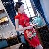 TIC TEC Women Cheongsam Short Qipao Chinese Style Sexy Sheath Dress Summer Split Red Floral Print