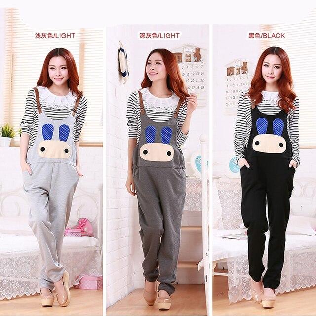 Clothes for Pregnant Pants Maternity Overalls Cartoon Rabbit Cotton Plus Size Trouser Pants for pregnant Women Maternity Clothes