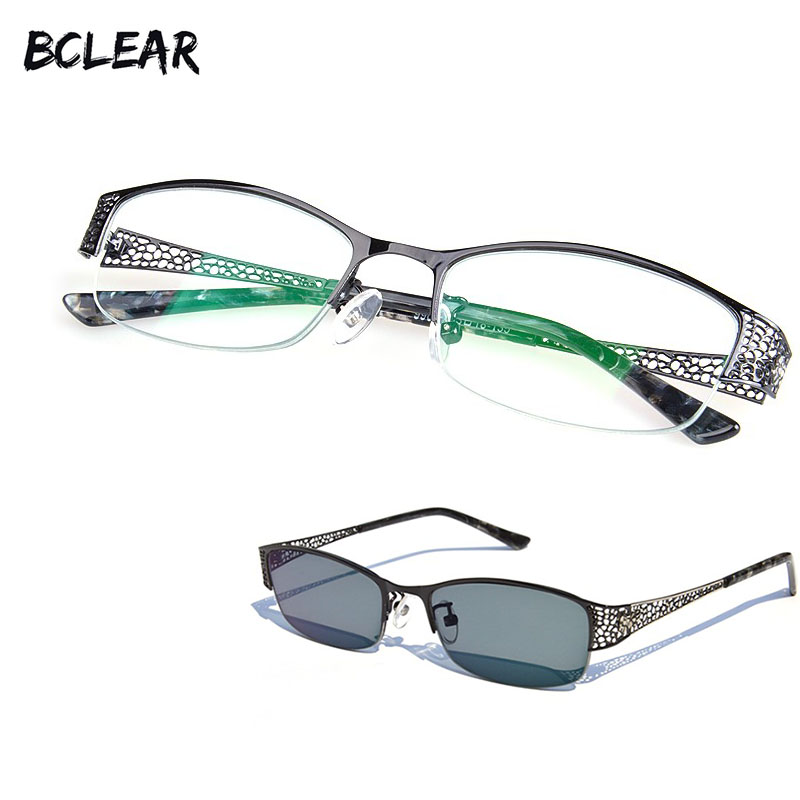 BCLEAR 2018 New Designer Woman Glasses Optical Frames Metal Half Frame Semi-rimless Gray Brown Sunglasses Clear lens Eyewear hot