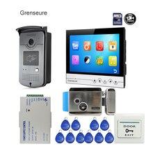 Free Shipping 9″ Color Screen UI Display Video Door Phone Intercom Recording System RFID Access Doorbell Camera + Electric Lock