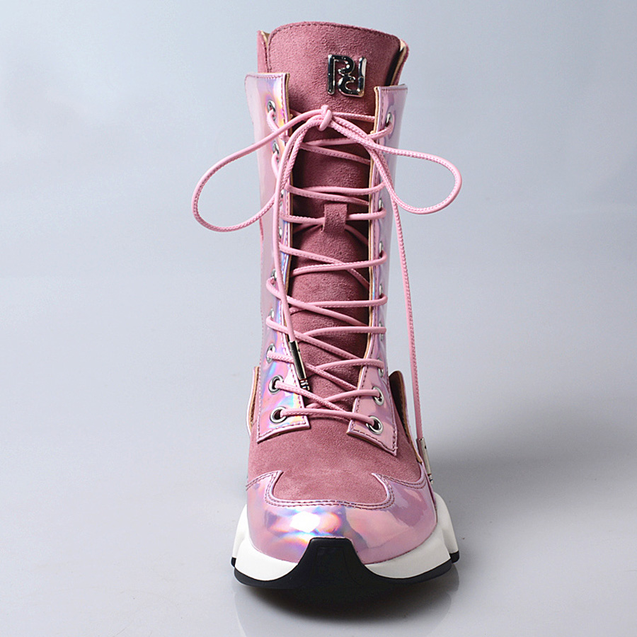 Femmes En Daim Patchwork 2019 Bottes Miroir Plat De Cheville In pink forme Leather Chaussures Causalité Plush Rose In Plate Courtes Prova Cuir Pink Sneakers Perfetto qw6C8O7