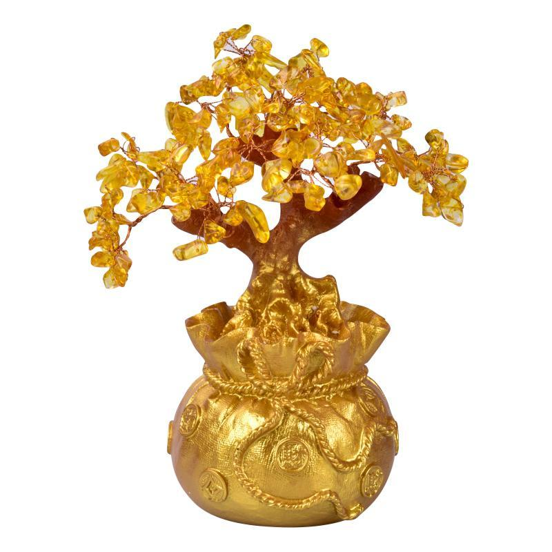 4 Colors Crystal Money Tree Bonsai Style Wealth Luck