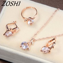 ZOSHI 3pcs Hot Women Pendant Necklace Earrings Rings Fashion Crystal Rhinestone African Costume Wedding Bridal Jewelry Sets