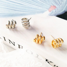 Delicate small metal geometric earrings temperament contracted ladies accessories personality with