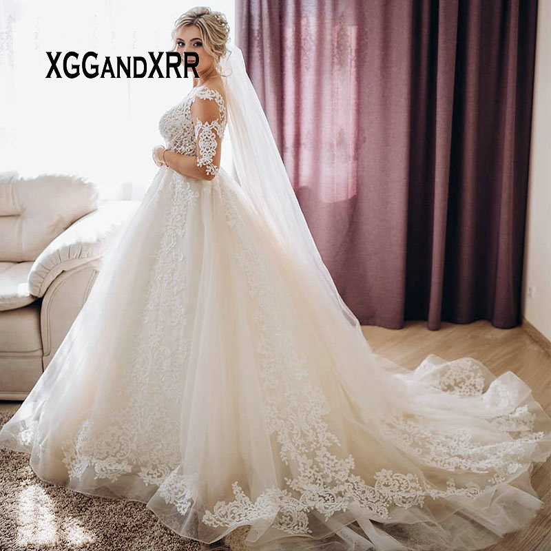 Full Sleeve Wedding Gown: Romantic Scoop Half Sleeves Ball Gown Wedding Dress 2019