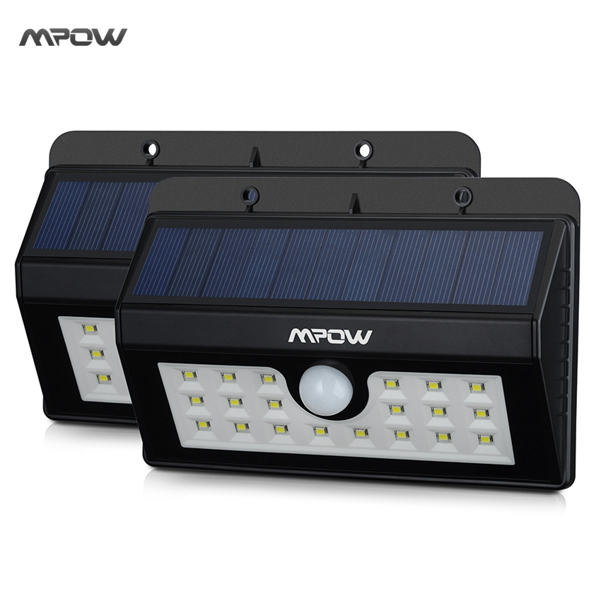 Mpow 2 Packs IP55 Weatherproof Waterproof lED Lamp Solar Light Outdoor Landscape Lawn Lamp 20LEDs Security Motion Sensor Light