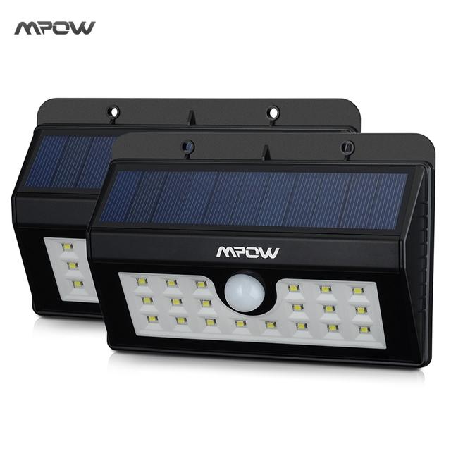 Mpow 2 Packs IP55 Weatherproof Waterproof lED Lamp Solar Light Outdoor Landscape Lawn Lamp 20LEDs Security Motion Sensor Light