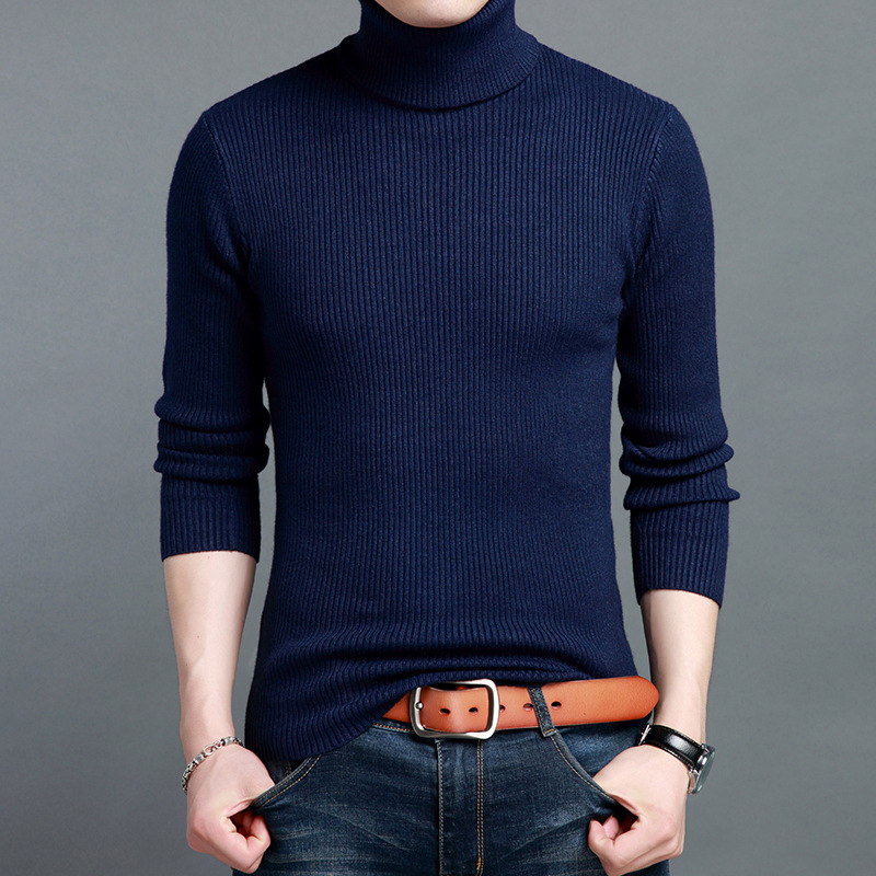 2017 Autumn Winter Men Sweaters and Pullovers Long Sleeve Cashmere Sweater Turtleneck Knitwear Double collar Male