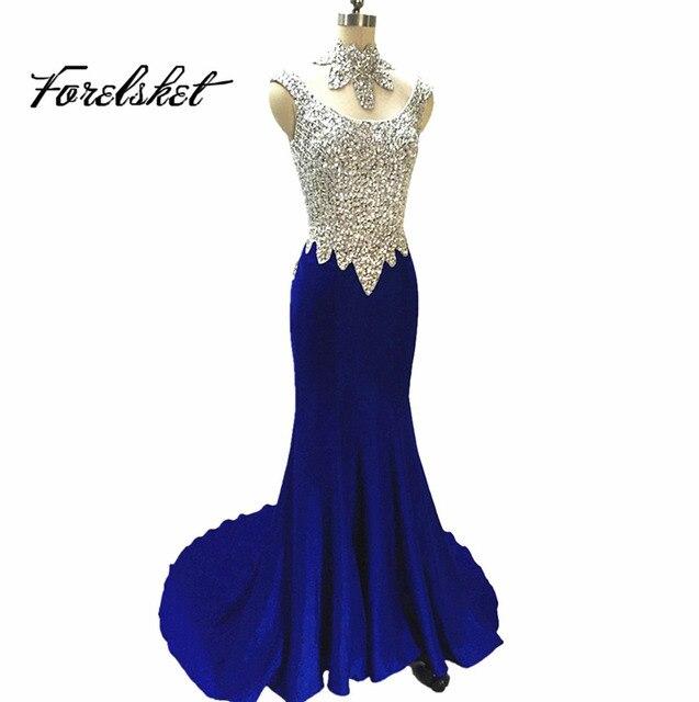 Mermaid Prom Dresses 2019 Sparkling Evening Dresses Long Royal Blue Beading  Handwork ballkleid vestido de festa robe de soiree 66d2db31b5f1