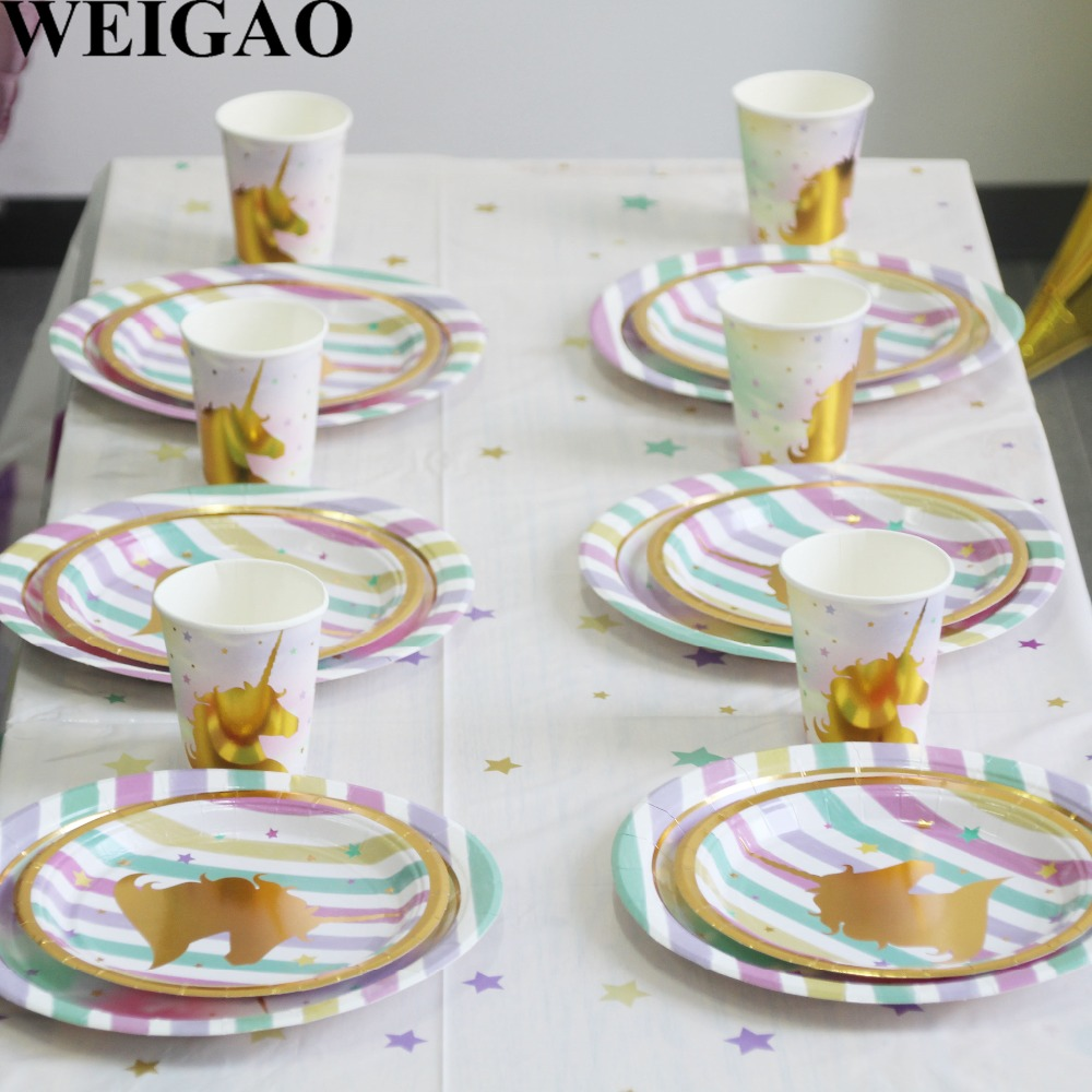 WEIGAO 1st Birthday Party Disposable Tableware Set Pink/Blue Paper Cup/Plate/Hat/Napkins Unicorn Party Banner Baby Shower Decor