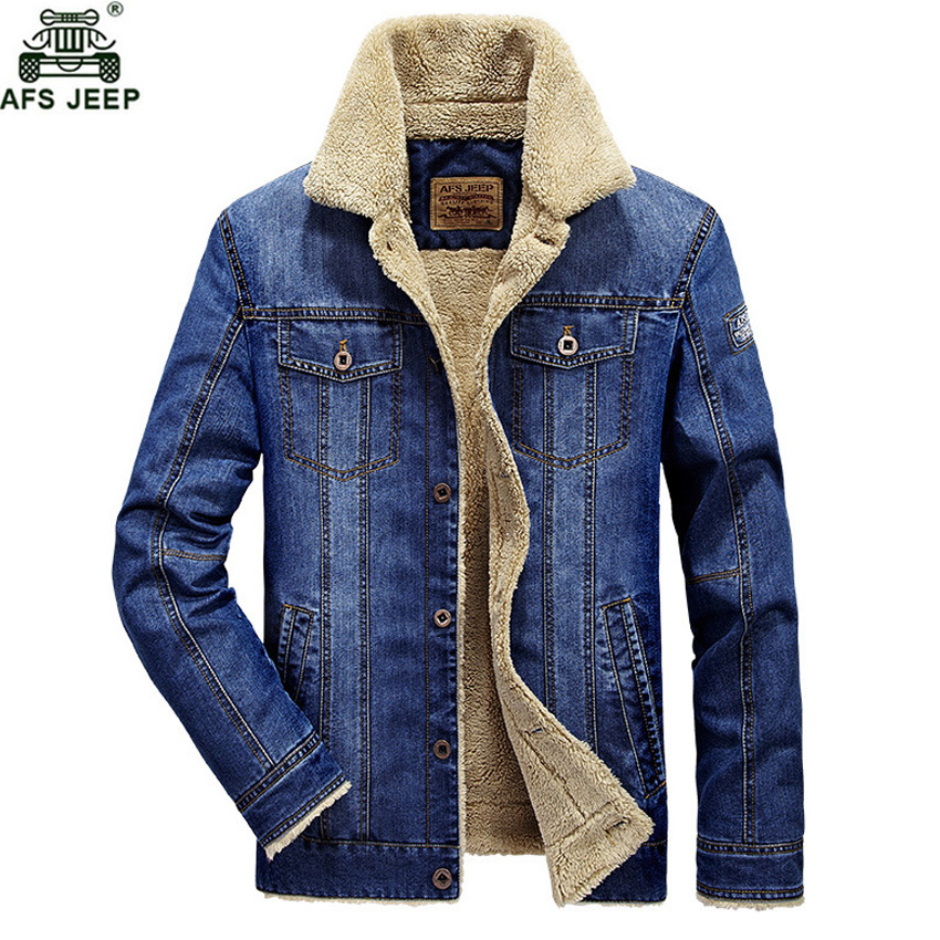 AFS JEEP Brand Retro Warm Denim Jackets Plus Size 4XL Autumn Winter Thick Jeans Jacket Men Casual Fleece Windbreaker Denim Coat afs jeep autumn jeans mens straight denim trousers loose plus size 42 cowboy jeans male man clothing men casual botton page 3