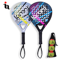 IANONI Tow PaddleBall Racket Three Cricket Balls Contrast Color Stripe Full Carbon Fiber EVA Professional Athlete Cricket Bat