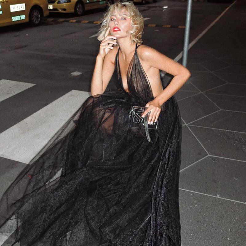 2019 nouveau blanc noir robe de piste Sexy V décolleté découpe maille sans manches dos nu lâche partie longue robe Maxi robe dame Vestidos