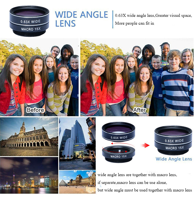 APEXEL 4 in 1 8X Telephoto Telescope Lens+Macro Lens+Wide Angle Lens+Fisheye Lens External Camera Lens For IOS Android Phone 7