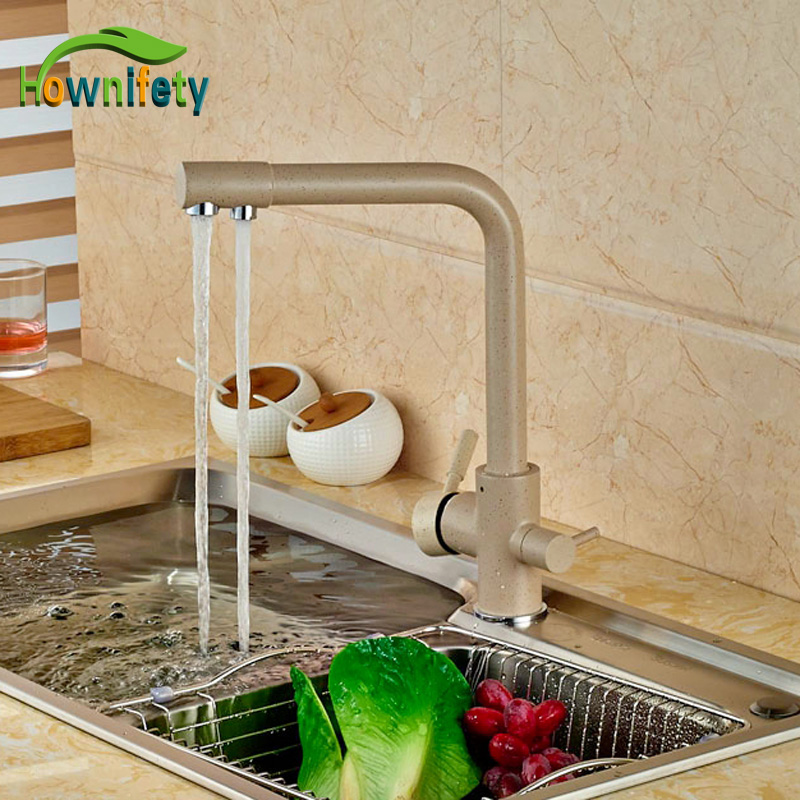 Euro Style Kitchen Sink Faucet Khika Color Double Handles Mixer Tap Swivel Spout Deck Mounted