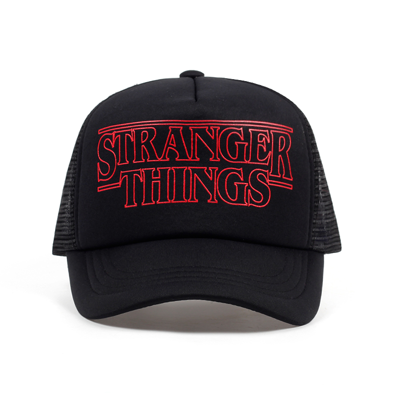 TUNICA Stranger Things Dustin Caps Hat Summer Cool Black Mesh Trucker Caps Men Adjustable Summer Cool Net Mesh Hats For Summer
