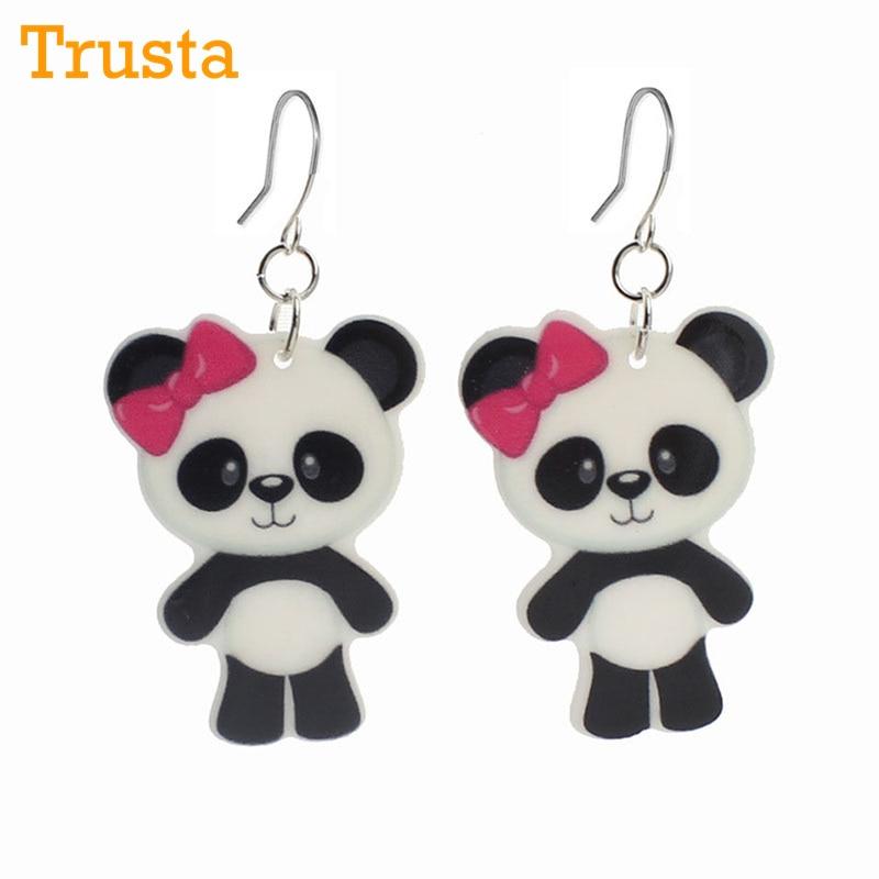 Trusta Fashion Kawaii Shopping Panda Resin Drop Earrings For Little Girls Cartoon Planar Resin Childrens Jewelry Earrings KE132