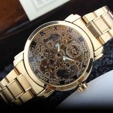 Nuevo Oro De Lujo Mecánico Automático Reloj Número Roma Hombres de Banda de Acero Inoxidable Esqueleto Dial Mens Watch Time Regalo M104