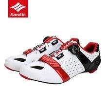 Santic Mens Zapatillas de Ciclismo de Carretera de Fibra de Carbono Único Scarpe Strada Ciclismo Transpirable Zapatillas De Ciclismo MTB Bicicleta de La Bici Zapatos