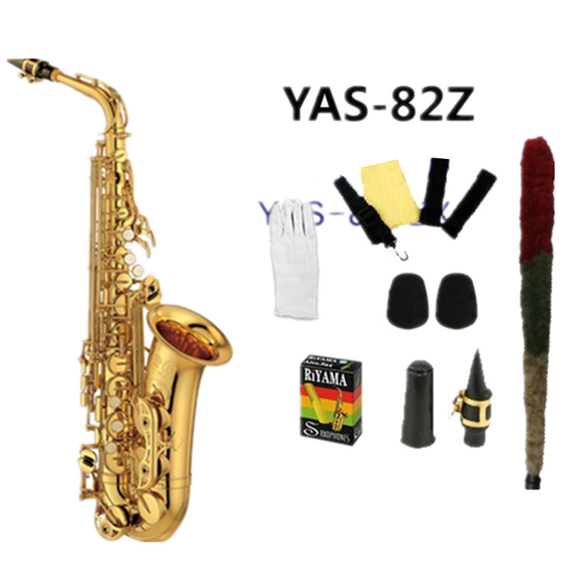high quality alto saxophone Yas 82Z Eb Gold alto saxopho Golden Sax Top Jazz instrument professional