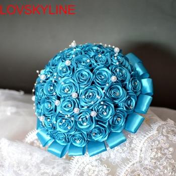 LOVSKYLINE Artificial Wedding Bouquets Hand made Flower Rhinestone Pearls Bridesmaid Crystal Bridal Bouquet de mariage