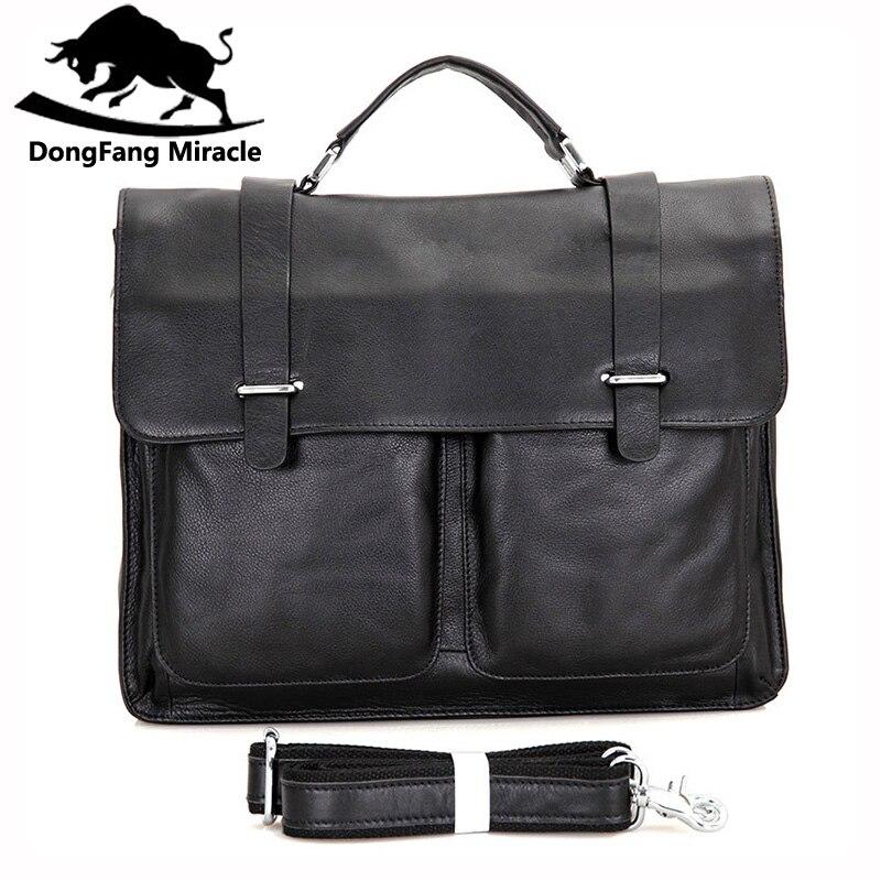 Dongfang 기적 암소 가죽 남성 비즈니스 핸드백 패션 오피스 서류 가방 플랩 hasp 어깨 메신저 가방-에서서류 가방부터 수화물 & 가방 의  그룹 2