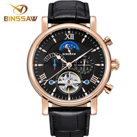 BINSSAW Mens Automatic Mechanical Watch Leather Business Stainless Steel Waterproof Men Luxury Sports Watches Relogio Masculino