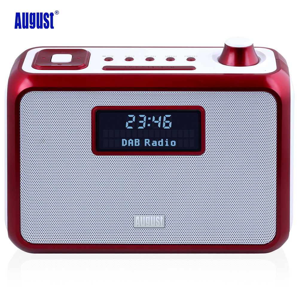 August MB400 Portable Bluetooth NFC Wireless Speaker with DAB/DAB+ Radio,Alarm Clock and FM Tuner Stereo Radio 8W Loudspeakers 5pcs pocket radio 9k portable dsp fm mw sw receiver emergency radio digital alarm clock automatic search radio station y4408