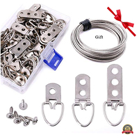 60Pcs Assorted Heavy Duty D Ring Picture Hangers Kit with Picture Hanging Wire Frame Picture Hangers with Screw For Picture Hang