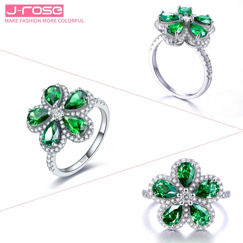 Jrose bijoux haut de gamme de luxe, 100%, 925 standard argent anniversaire classique fleur bijoux bague de fiançailles de mariage pour les femmes - 5