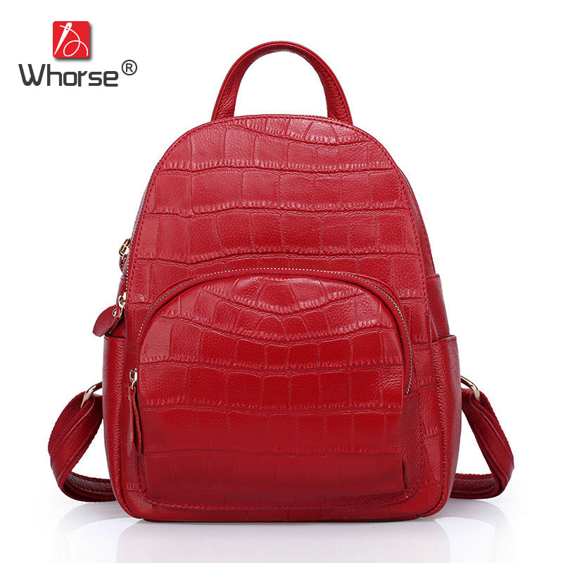 [WHORSE] Brand Women Backpack Alligator Genuine Leather School Backpacks For Girls Shoulder Travel Bag Large Capacity W08410 nigedu brand genuine leather women backpacks large capacity female school bag laptop backpack girls shoulder travel mochila