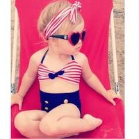 2017 Cute Striped Sailor Child Bikini Swimsuit Swimwear High Waisted Bathing Suit For Kids Baby Girls