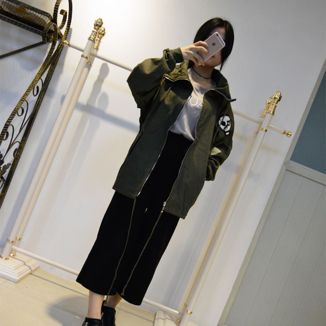 Fashion high collar wind women coat casual street wear tops army green trench coats